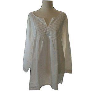 Van Heusen XLARGE Solid White Smocked Lace Top